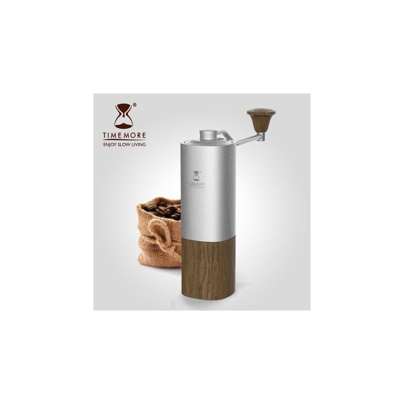 Black Mirror Chestnut G1-S (Titanium Blades) Hand Coffee Grinder Silver/PC