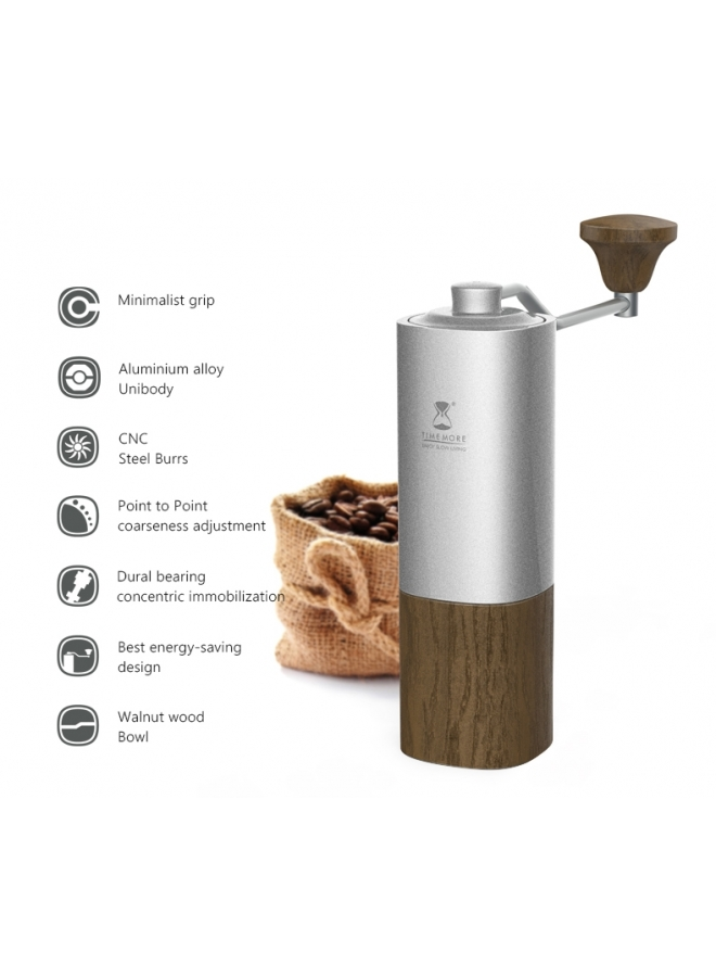 Black Mirror Chestnut G1-S (Titanium Blades) Hand Coffee Grinder Silver/PC